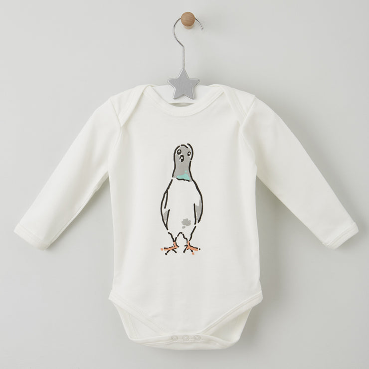 0-6 months long sleeved cotton baby grow with nelson the london pigeon motif by shmuncki