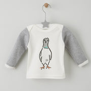 0-6months long sleeved baby top with nelson the london pigeon illustrated print