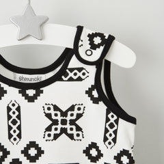 monochrome baby dungarees