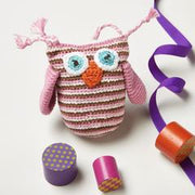 crochet pink owl rattle baby toy