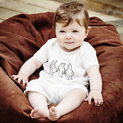cotton baby romper from london with pigeon bird illustration