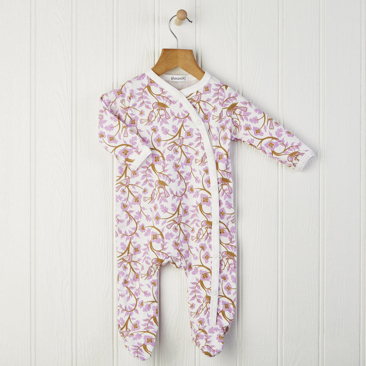 pink long sleeved babygrow for newborn 0-6 months