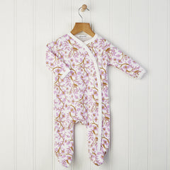 Baby girls white and pink flower babygrow