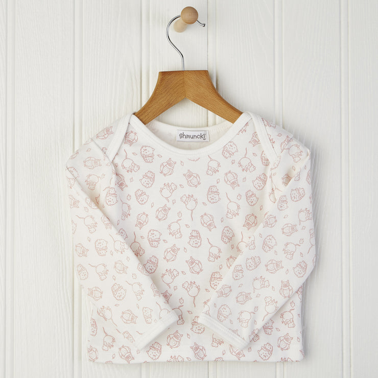 12-18mnth long sleeved baby top in pink print