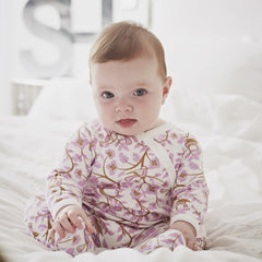 0-6 months new baby cotton babygrow with flowers and birds in a pink and white design