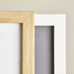 wood effect frame and white frame