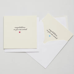 new arrival cards in pink or blue with star motif