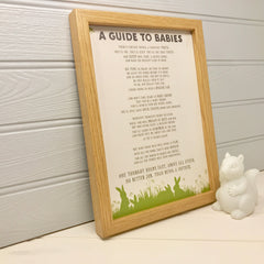 'A guide to babies' baby shower gift poem
