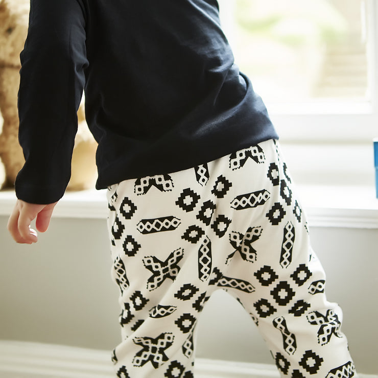 black and white print baby harem pants 6-12months