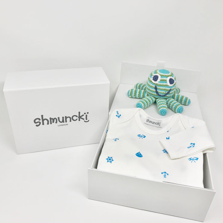 nautical baby gift clothes with card and free delivery