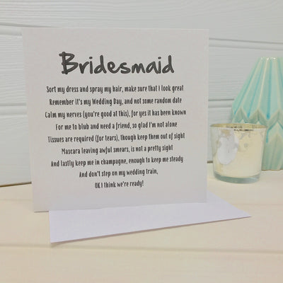 Bridesmaid poem card
