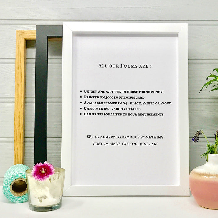 poem and personalised gift prints