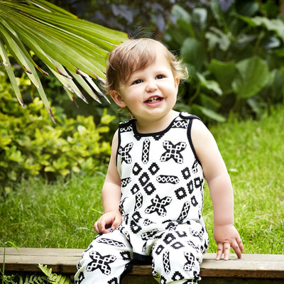 monochrome baby dungarees by shmuncki