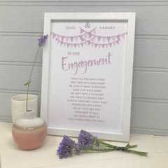 happy couple personalised engagement gift print with pink and purple bunting illustration