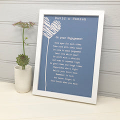 engagement poem gift in blue with hearts
