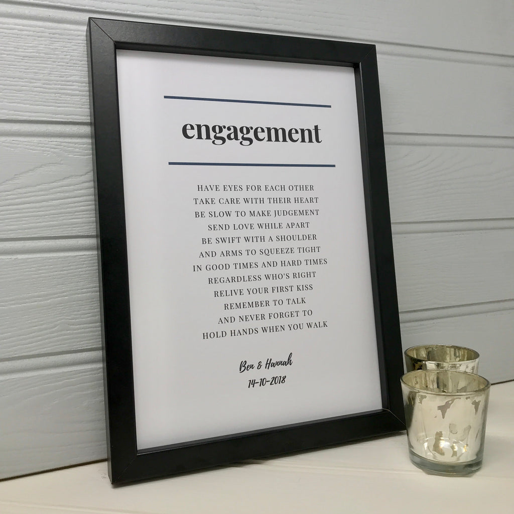 Engagement Poem Print in Monochrome