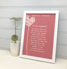 Personalised engagement print in red with hearts