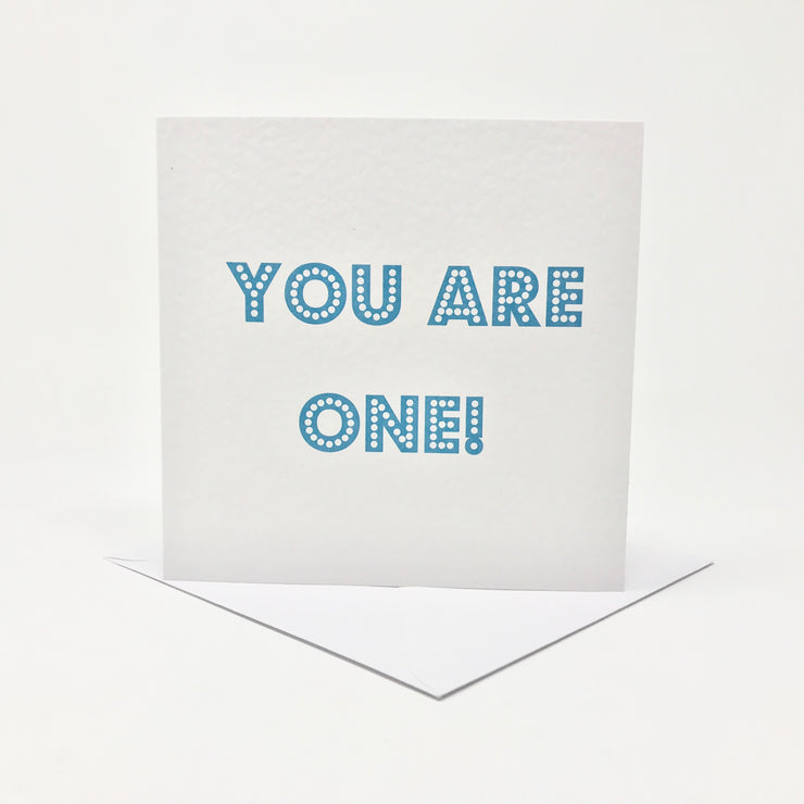 you are one new baby boy card in blue
