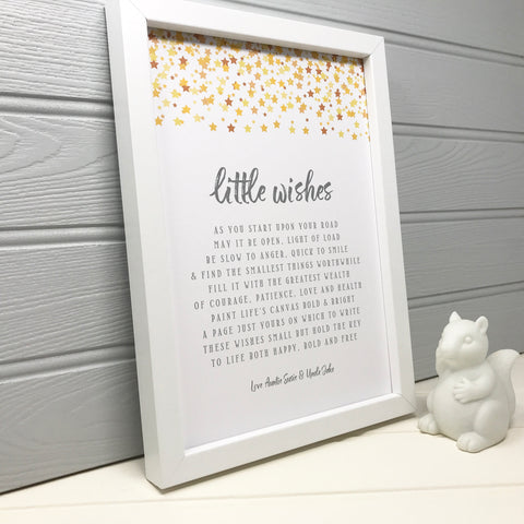 Christening or Baptism Gift - Little Wishes Poem