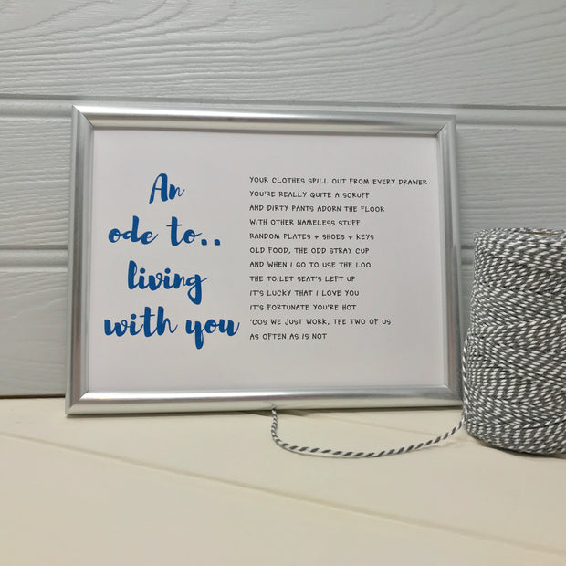 anniversary gift for husband in a silver frame