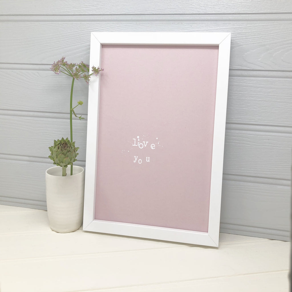 Birthday gift for wife in a white frame and pink illustration