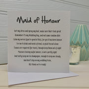 maid of honour card gift