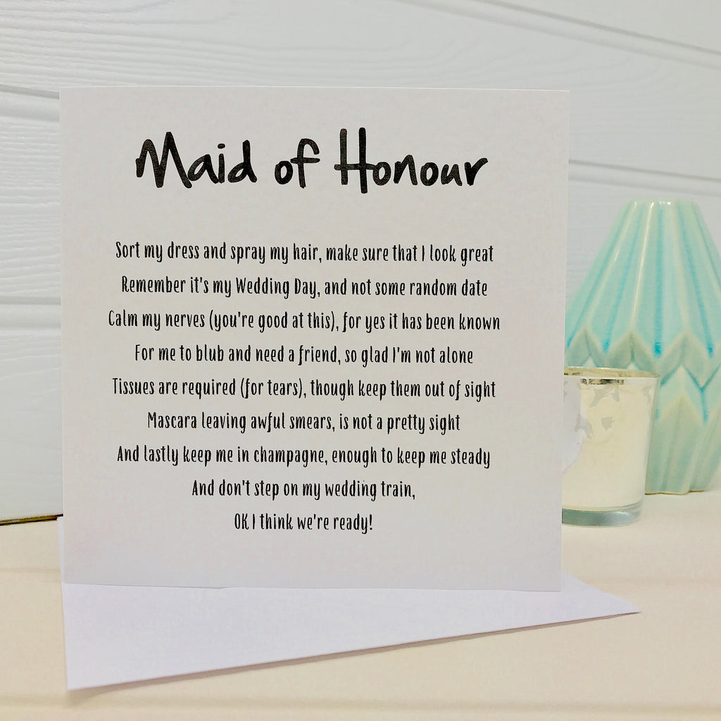 funny poem card for a maid of honour