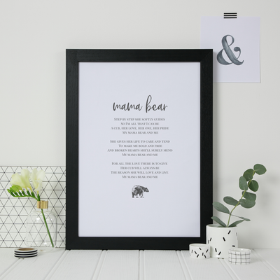 Mama Bear poem gift for mummy