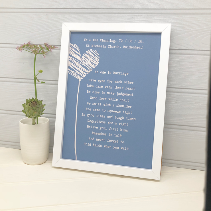 personalised marriage poem wedding print