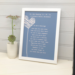 personalised wedding gift poem print in blue with hearts