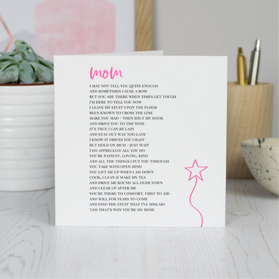 funny mom poem card
