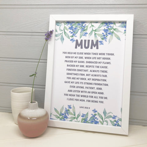 Wonderful Mum' Poem Print Blue