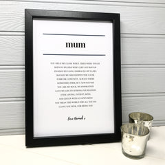Personalised black and white print for mum