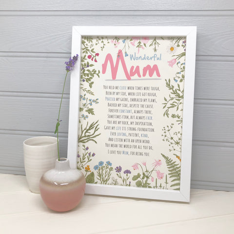 Mum Poem Flower Print