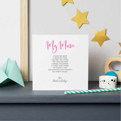 my mum poem card