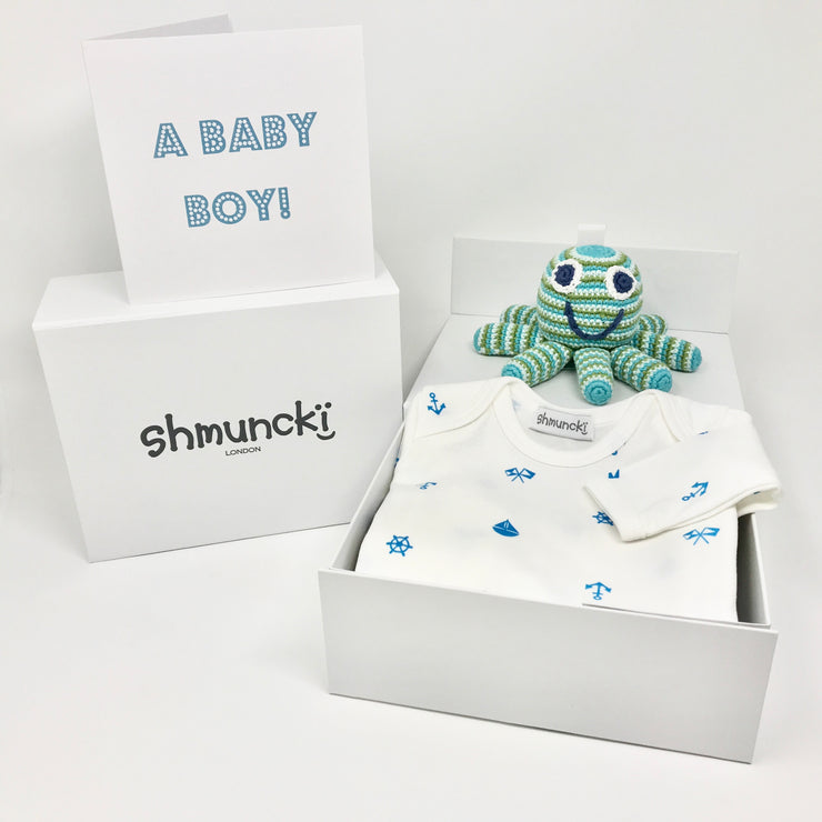 shmuncki baby boy gift set with long sleeved nautical print top and octopus rattle