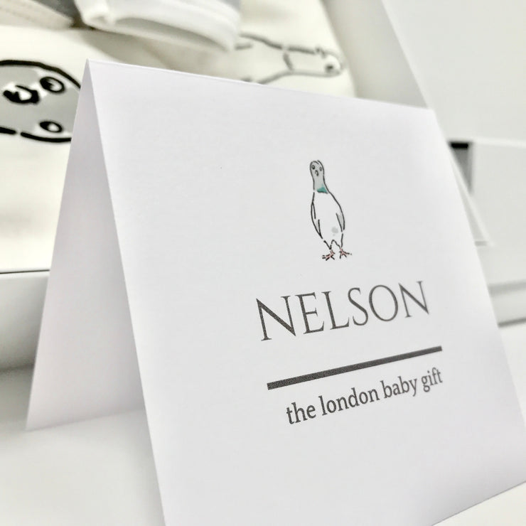 Luxury baby gift card with pigeon character Nelson
