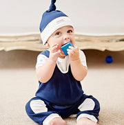 blue baby boy dungarees and hat gift set by shmuncki 0-6 months
