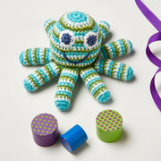 crochet blue and green octopus rattle baby toy