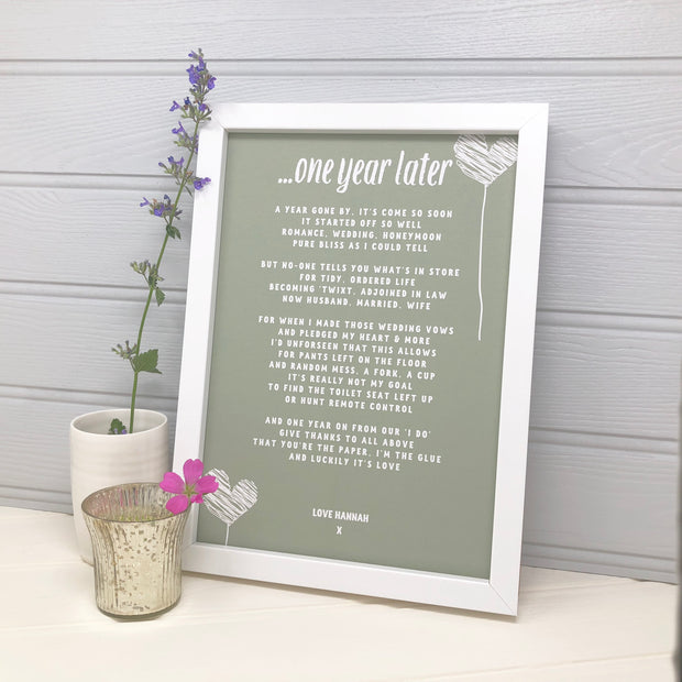 personalised paper anniversary print gift