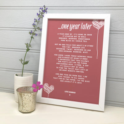 personalised paper anniversary poem in red with hearts