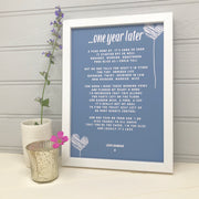 personalised first anniversary gift for husband in blue with hearts