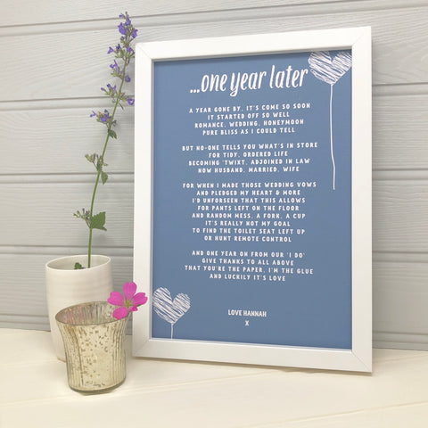 Personalised First Anniversary Poem