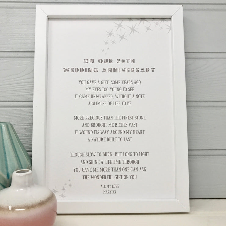 20th wedding anniversary poem for wife