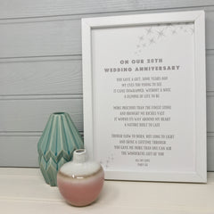 20th wedding anniversary poem print