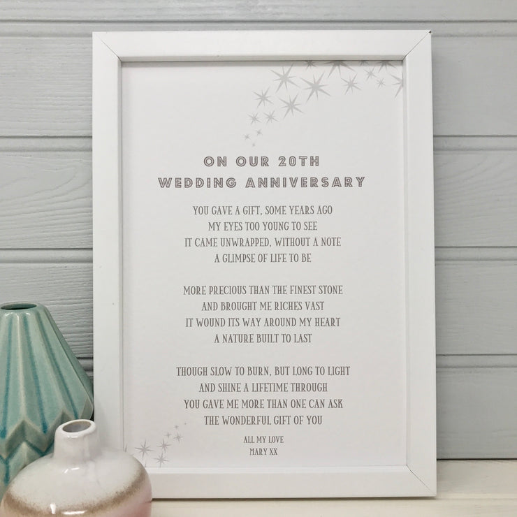 20th anniversary gift poem print