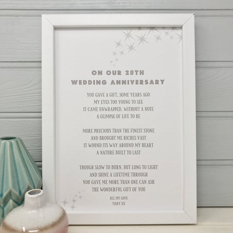 20th Wedding Anniversary Poem for Husband/Wife
