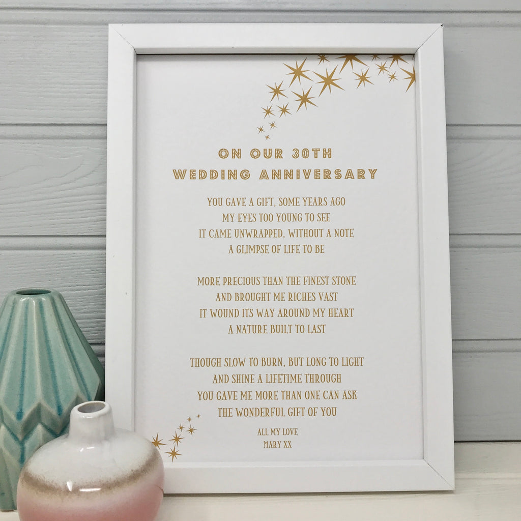 30th anniversary poem print gift personalised for husband or wife