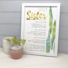 funny sister poem with botanical illustration