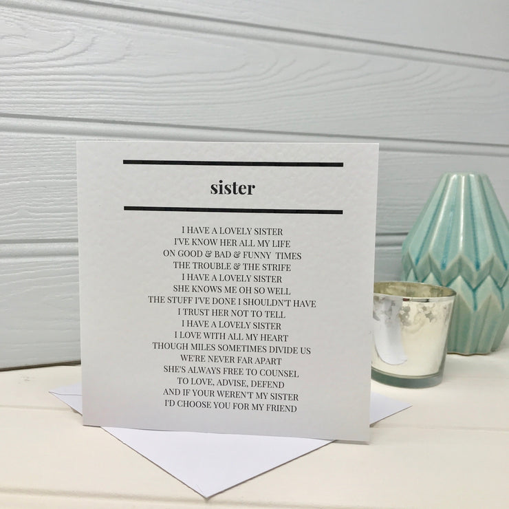 funny birthday card with sister poem